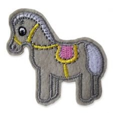 GREY PONY MOTIF IRON ON EMBROIDERED PATCH APPLIQUE